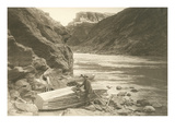 Rowboat Next to Colorado River, Grand Canyon Poster