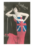 Woman Wrapped in British Flag Posters