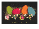 Happy Easter, Colonial Children with Eggs Prints