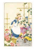 Young Lady in Garden with Beetles Poster