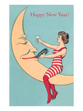 Happy New Year, Woman and Smiling Moon Posters