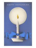 Happy Hanukkah, Candle and Ribbon Print