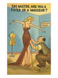 Cartoon of Woman and Tailor Posters