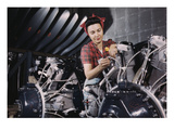 Woman Working on Aircraft Engines Prints
