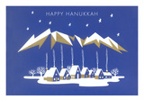 Happy Hanukkah, Village under Geometric Clouds Prints
