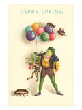 Happy Spring, Frog with Balloons Posters