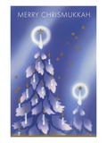 Merry Chrisnukkah, Tree with Candles Prints