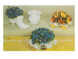 Ceramic Flower Arrangements in Milk Glass Prints