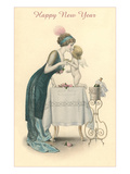 Happy New Year, Woman Kissing Cherub Posters