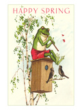 Happy Spring, Frog Playing Flute Print