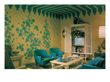 Blue Living Room Suite, Exotic Wallpaper Prints