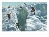 Passage Through Ice Crevasse, Chamonix, France Posters