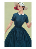 Woman in Navy Dress with Hat Prints