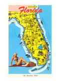 Map with Florida Attractions Prints