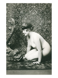 Naked Woman, Oriental Rug, Fish Sculpture Photo