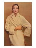 Woman in Camel Coat Print