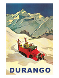 Red Ski Truck in Snow, Durango, Colorado Poster