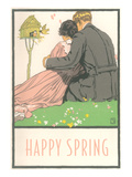 Happy Spring, Couple and Birdhouse Prints