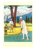 Lady Golfer in the Mountains Prints