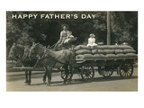 Happy Father's Day, Family on Wagon Print