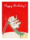 Happy Birthday, Elephant on Slide Affiche