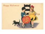 Happy Halloween, Children with Pumpkin Posters