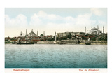 Vintage Constantinople Skyline, Turkey Prints