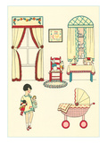 Little Girl, Pram, Neat House Posters