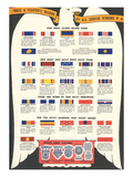 US Army, Navy, Marines and Coast Guard Service Ribbons Affischer