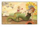 Art Deco Mermaid, Rockland, Maine Poster