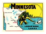 Minnesota, Land of 10,000 Lakes Affiches