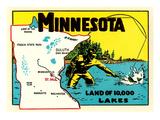 Minnesota, Land of 10,000 Lakes Art Print