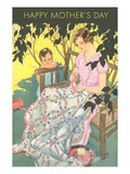 Happy Mother&#39;s Day, Woman Mending Blanket Posters