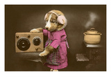 Puppy in Apron with Radio Receiver Print