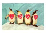 Penguins Spelling Out Love Prints