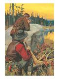 Hunter Aiming at Elk Prints