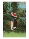 Lovers Kissing Behind Big Hat Poster
