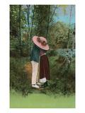 Lovers Kissing Behind Big Hat Print