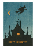 Happy Halloween, Witch Flying over House Art