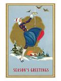 Girl Feeding Birds in Winter Prints