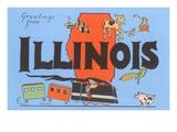 Greetings from Illinois, Cartoon Print
