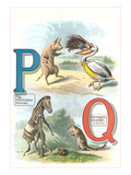 Alphabet Animals, P and Q Posters