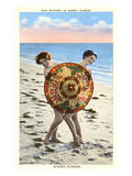 Women with Parasol on Beach, Stuart, Florida Poster