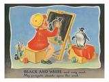 Black and White Penguin, Chalkboard Prints