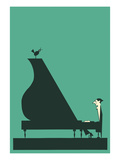 Pianist with Perched Bird Poster
