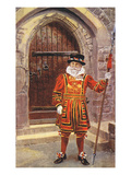 Beefeater at Tower of London, England Print