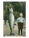 Boy with Taller Fish Posters