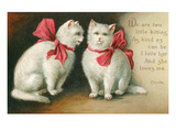 Vintage White Cats with Bows Prints