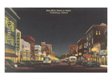 Night, Main Street, Galesburg, Illinois Prints