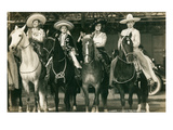 Mexican Charros on Horses Poster